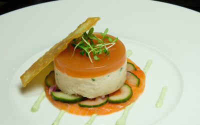 Smoked salmon mousse with pickled cucumber salad recipe